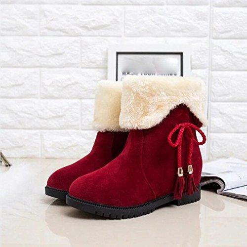 Tefamore Stivali Da Neve Stivaletti In Inverno Scarpe Invernali Heels Scarpe Rosso