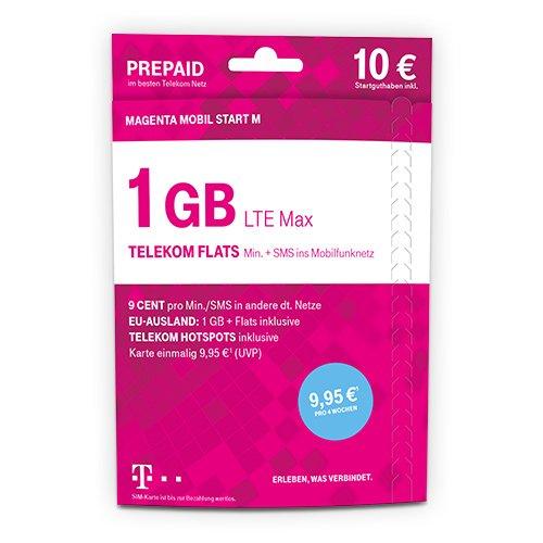 Telekom MagentaMobil Start M Prepaid-Karte mit 1 GB Highspeed-Datenvolumen, LTE Max, HotSpot Flat, Flat zu einer persönlichen Zielrufnummer sowie Telefonie und SMS Flat ins Mobilfunknetz