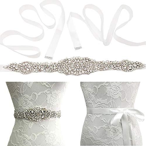 Kalalary Bridal Strass Hochzeit Gürtel, Hand klar Sash Strass Bänder Kristall Perlen Strass für Prom Abend Party Kleid Brautkleid (13,77 Zoll)