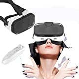 3D Virtual Reality Headset, bevifi VR Gläser/Headset mit Fernbedienung und halb transparent Cover für iPhone 7/7Plus/6/6S Plus/SE/5S, Samsung Galaxy S7Edge/S7/S6/A5/A32016& anderen 8,9–15,2cm Handys