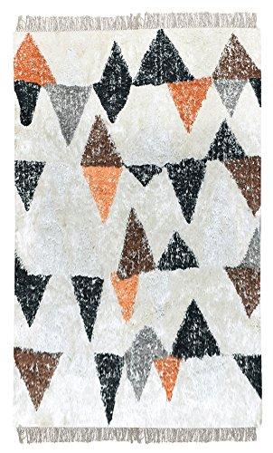Meubletmoi Alfombra Color Blanco 120x 180Rectangular algodón Suave–, diseño geométrico–Deva