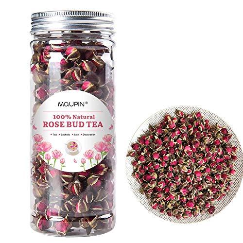 MQUPIN Organic Rose Bud Tea Dried Red Rose Petal Flower Edible Buds Detox Tea Dried Golden-Rim Rose Flowers Fragrant Natural ( 90g/3.2OZ)