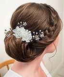 OKSakady Cheveux Fascinator Comb Femmes De Mariée Mariage Bal De Promo Fleur Pince à Cheveux Bandeau Avec Perles Strass