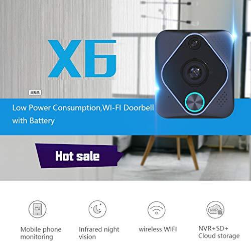 X6 Wireless WiFi Video Intercom Nachtsicht Visuelle Türsprechanlage Türklingel Kamera (Schwarz) (Prestige Alarm)