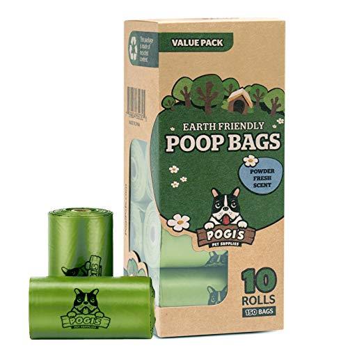 Pogi's Hundekotbeutel - 10 Rollen (150 Tüten) - große, biologisch abbaubare, parfümierte, tropfsichere Hundetüten -