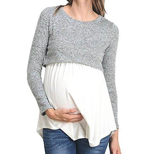 3e34deec4 juqilu Remiendo de la Manera Camisa de Lactancia de Manga Larga enfermería  Ropa Casual de Maternidad