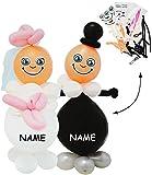 alles-meine.de GmbH Bastelset -  Brautpaar / Braut & Bräutigam  - incl. Name - 85 cm ! Luftballon Figuren - lustig - Hochzeit / Verlobung / Polterabend - Luftballons aufblasbar..