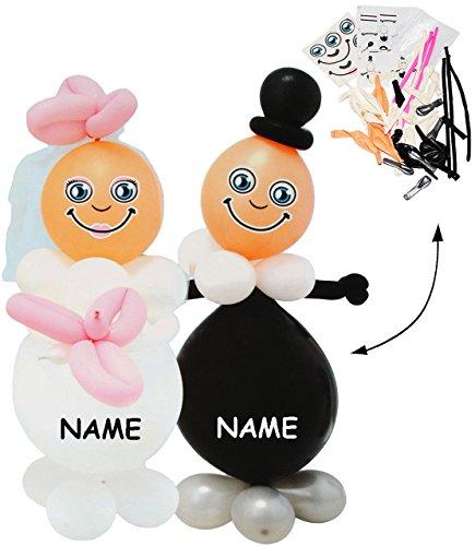 """Preisvergleich Produktbild Bastelset - 3 *- """" Brautpaar / Braut & Bräutigam """" - incl. Name - 85 cm ! Luftballon Figuren - lustig - Hochzeit / Verlobung / Polterabend - Luftballons aufblasbar - Ehepaar zum Aufblasen - Basteln - Deko / Hochzeitsdekoration - Frau & Mann - Dekoration - Hochzeitsdeko - Hochzeitsfiguren - Hochzeitspaar - Raumdekoration - Ballon / Tischdeko - Geschenk - Ballonfiguren"""