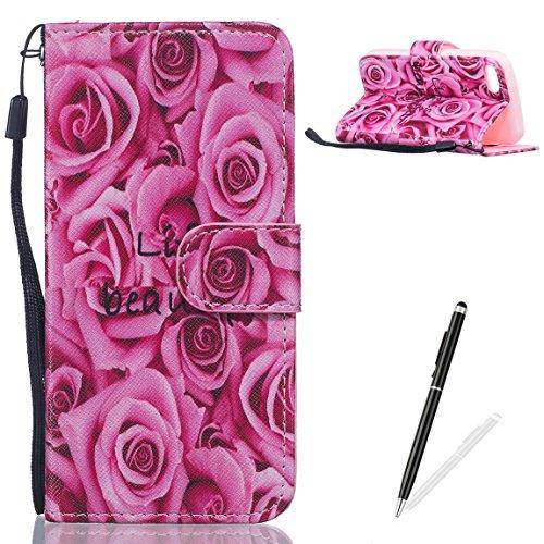 Feeltech Weich PU Leder Brieftasche Tasche für iPhone 5/5S/SE mit Magnetverschluss und Kartenhalter Gedrucktes Nettes Karikaturmuster Slim Flip Leather Wallet Hülle Etui-Rote Rosen