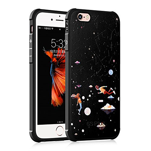 "Gukas Design Housse Coque TPU Silicone Case Etui Cover Pour Apple iPhone 6S 4.7"" Gel Ultra Slim Soft Bumper Protective Rubber Shock Absorber Flexible (Bear) Starry Sky"