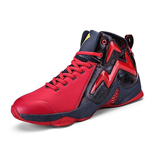 Elaphurus Herren Basketballschuhe Atmungsaktiv High Top Sneaker Anti-Rutsche Trainingsschuhe Sportschuhe(Rot EU44)