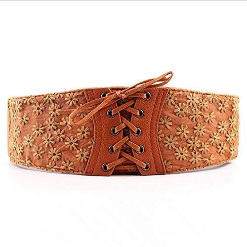 Y-WEIFENG Damengürtel Vintage Obi Bowknot Leder breite Taille Cinch Gürtel ` (Farbe : Khaki)