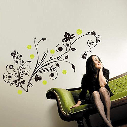 mmer Aufkleber Hintergrund Schwarze Blume Reben Hintergrund Wasserdicht Abnehmbare Dekorative Aufkleber ()