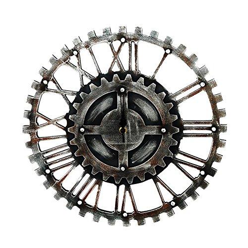 Vintage Engranajes Silencioso Reloj de Pared Engranaje Hueca Reloj de Pared Engranaje Hueca Estilo Metálico Mecánico 40cm