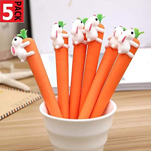 5 bolígrafos de tinta negra de 0,5 mm con diseño de zanahoria, para regalo escolar