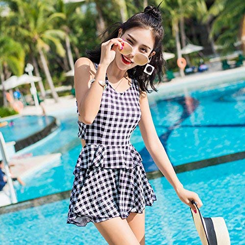Qiusa Ladies Swim Wear - Blauer und weißer Faden-Split-Badeanzug, der das Video abnimmt Thin Sweat Speed Dry, Schwarz-Weiß, XL (Farbe : Wie Gezeigt, Größe : Einheitsgröße)