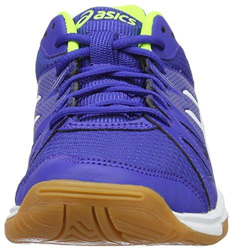 Asics Gel Upcourt Gs, Scarpe da Badminton Bambino Multicolore (Blue / White / Safety Yellow)