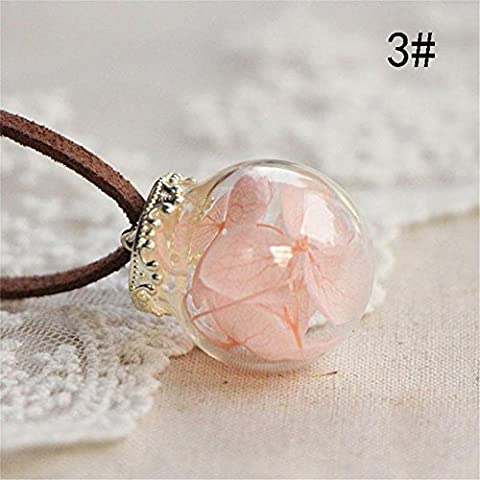 ZHUOTOP Charming Crystal Glass Ball Leather Dried Flower Chain Pendant Necklace