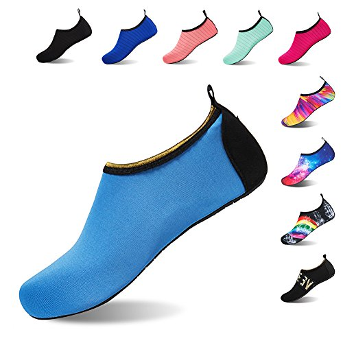 HMIYA Badeschuhe Strandschuhe Wasserschuhe Aquaschuhe Schwimmschuhe Surfschuhe Barfuß Schuhe für Damen Herren(Blau,Größe42 43)
