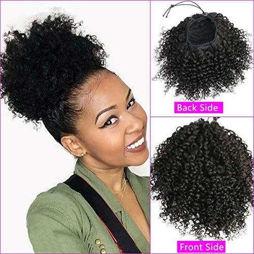 Extension di capelli umani ricci afro per donne nere - 20,3 cm clip in top chiusura coulisse coda di cavallo pezzo naturale nero 90 grammi