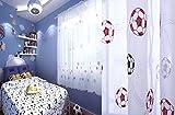 Ians Emporium - Cortina de gasa para niños con bordado único, color negro, azul, rojo, rojo, para fútbol, de 55 x 72 cm