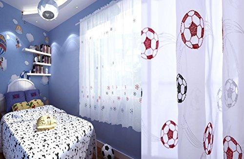 Ians Emporium One Single schwarz bestickt blau rot Kinder Jungen Kinder Fußball Voile Netz Vorhang Panel–139,7cm W x 182,9cm L–Vorhänge zu - Jungen Vorhang-panels