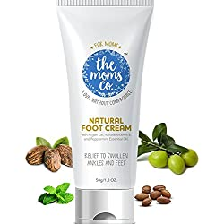 The Moms Co. Natural Cooling Foot Cream, Chemical-Free Peppermint Foot Cream For Cracks, Swollen Ankles And Tired Feet (50g / 1.8 Fl. Oz.)