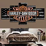 Stampa su Tela 5 Pannelli Harley Davidson Motorcycle Wall Artwork Sign Ufficio Home Decorazioni Pittura No Frame,A,100x200cm