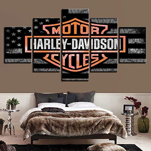 Drucke auf Leinwand 5 Panels Harley Davidson Motorrad Wand Kunstwerk Zeichen Büro Hauptdekorationen Malerei Kein Rahmen,A,100x200cm (Harley Davidson 5x)