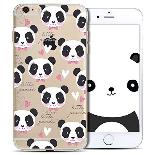 Cover iPhone 6 Plus Spiritsun Case iPhone 6S Plus Custodia Silicone Ultraslim Soft TPU Case Cristallo limpido Trasparente Cover Cartoon Kawaii Souple Flessibile Phone Protezione Case Per iPhone 6S Plu Panda 9