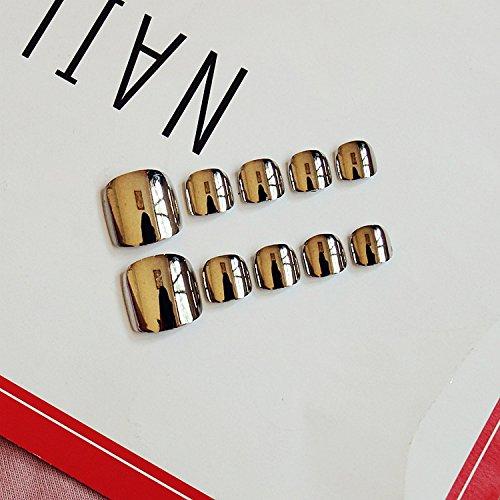 Mimei 24 pièces Faux ongles pied Miroir Gris Brillant Punk Style pour Femme ou Fille Idée Cadeau Saint Valentin Anniversaire