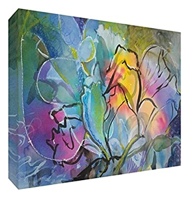 Feel Good Art Original/Gallery Wrapped Box Canvas with Solid Front Panel Flower Explosion by Artist Valerie Johnson (40 x 30 x 4 cm, Medium)
