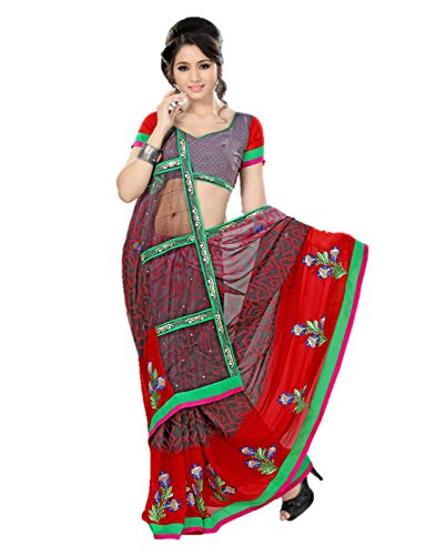 Sharda Sarees Chiffon Saree (Red) with Blouse Piece