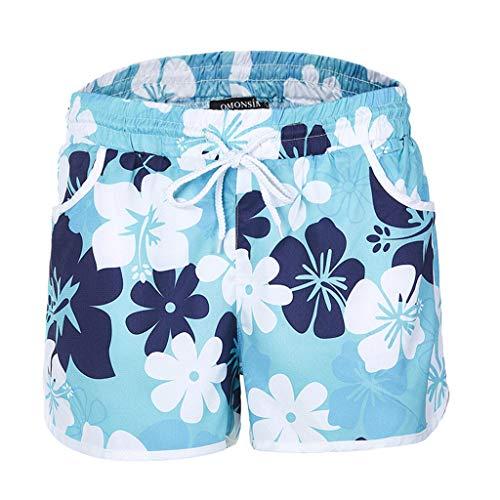Zarupeng Damen Mehrfarbige Blumendruck Hot Pants Strand-Shorts Elastische Bund Atmungsaktiv Freizeitshorts Chino-Shorts Sportshorts mit Gürtel -