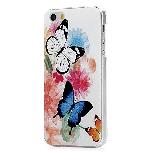 iphone 5 5s iphone se Coque KASOS Transparent Housse Etui Phone Case Protection de Téléphone PC Plastique Ultra Mince Anti-Rayures Anti-dérapante Ultra Housse Bumper Cover -Papillon bleu violet Papillon de fleurs colorées
