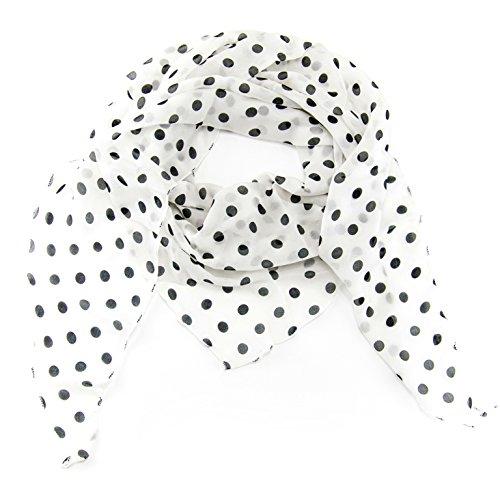 ManuMar Dreiecks-Schal für Damen | feines Hals-Tuch mit Punkte-Motiv als perfektes Sommer-Accessoire | Dreiecks-Tuch in weiß schwarz - Das ideale Geschenk für Frauen