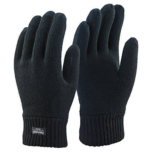 Mens 3M Black Thinsulate Thermal Lined Winter Gloves (Medium/Large)