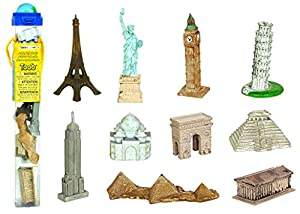 Sehenswürdigkeiten-Einmal um die Welt TOOB® beinhaltet Schiefer Turm von Pisa, Eiffelturm, Taj Mahal, Arc de Triomphe, Freiheitsstatue, Tempel der Inschriften, Pyramiden von Gizeh, Empire State Building, Big Ben, und den Parthenon.