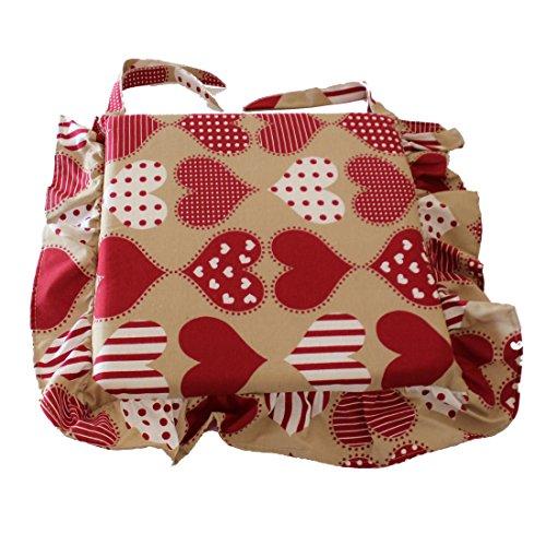 Cuscino shabby cuore rosso pois bianco con volant 40x40 spessore 5 cm, copri sedia cucina, euronovità