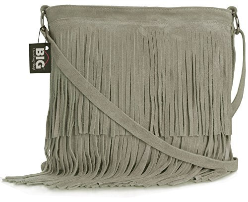 7676565b8 Big Handbag Shop Pequeño bolso con flecos crossbody para dama de gamuza  suave - (Topo