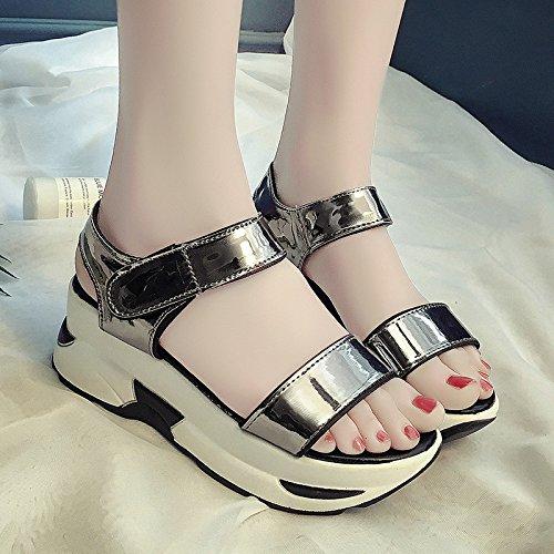 Lgk & fa sandali da donna estate di spessore inferiore suola sandali da donna estate casual sport sandali scarpe da donna Gun color