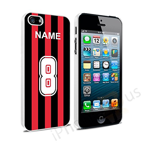 Ac-flag (AC Milan Farben personalisierbar Football Shirt, jeder Name, beliebige Snap On Hard Back Case Cover für Apple iPhone 5 5S von iPhone R Us® SE)
