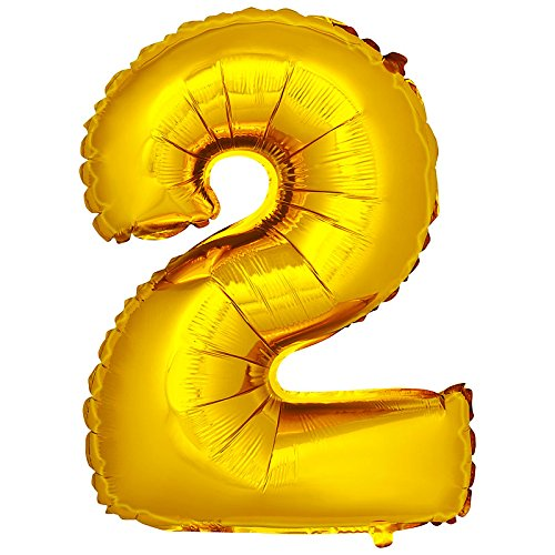 DekoRex número Globo decoración cumpleaños Brillante para Aire en Oro 40cm de Alto No. 2