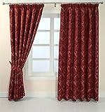 Homescapes Blickdichte fertig konfektionierte Luxus Kräuselband Jacquard Vorhänge Vevey Damask Rot L 137 x B 117 cm