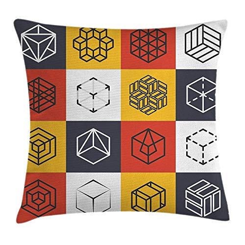 EUEI Modern Decor Throw Pillow Cushion Cover by, Collage of Geometrical Shapes Futuristic Squares Rubic Cubes Artwork Image, Decorative Square Accent Pillow Case, 18 X 18 Inches, Multicolor -