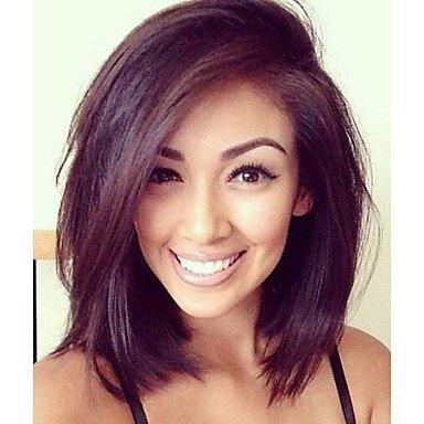 jiayy–Perücke für Damen–Haar Natur–braun, gerade, 18inch-natural Black (Blonde 18-zoll-haar-erweiterungen)