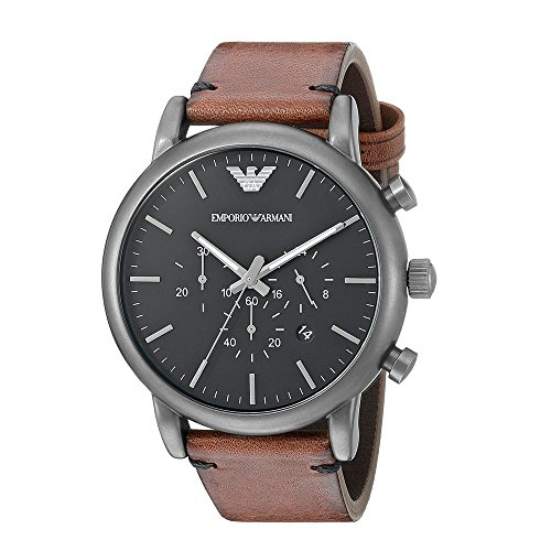 Emporio Armani Men's Quartz Watch with Black Dial Analogue Display and Black Leather Bracelet AR1919