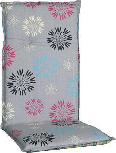 Beo Sitzkissen Gartenstuhlauflage Hochlehner Serie Barcelona M727 Pusteblume grau/Kiwi 118 cm x Breite 50 cm x Dicke ca. 6 cm