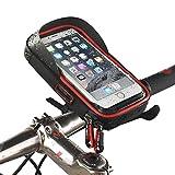 Sisthirth Fahrrad-Handytasche Fahrradtasche Rahmentasche für Mountain Bike (Passend bis zu 6,0 Zoll) mit klaren PVC-Schirm (Rot)