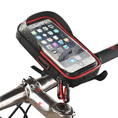fivefire Wasserdicht Fahrrad Handy Halterung mit Tasche wasserabweisend Radfahren Rahmen Transparent anfassbar Schutzhülle 360Grad drehbar für Smartphone, Handy, Navi, GPS Halterung/für 15,2cm iPhone 6Plus 6S 7S Plus, Samsung Galaxy S4S6S8S6S5Sony Xperia Z3Z4Z5Plus 3LG G5G6G4, rot